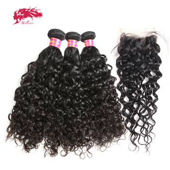 Ali Queen Brazilian Virgin Water Wave Hair Bundles With Closure 3/4pcs Human 4x4/13x4 Lace / Frontal - discount item  45% OFF Human Hair (For Black)