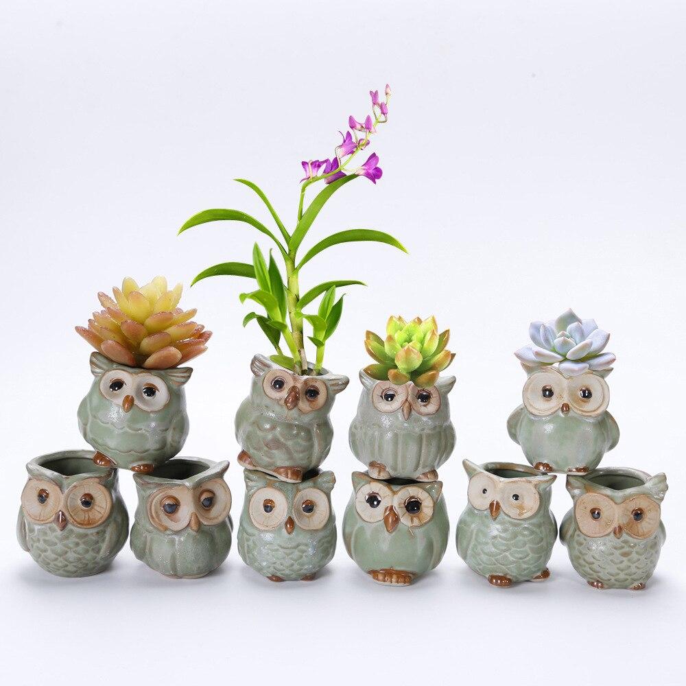 10 Pcs/Set Creative Ceramic Owl Shape Mini Flower Pots ceramic pot  flower   farmhouse home decor  succulents plants