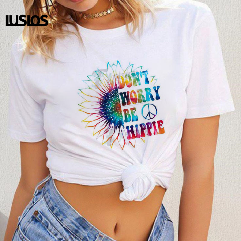 LUSLOS DON'  T   WORRY BE HIPPIE Women   T     Shirt   Plus Size 2019 Summer Sunflower Print Short Sleeve Casual Loose White O-neck   T  -  shirts