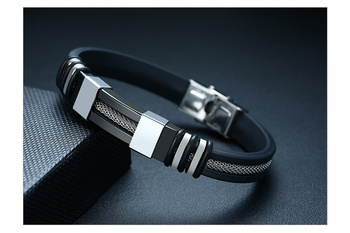 Todd — Stainless Steel & Leather Bracelet