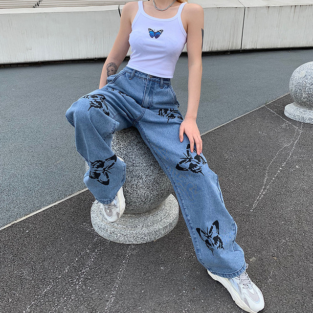 Vintage Jeans Long Trousers Cowboy Female Loose Streetwear  2