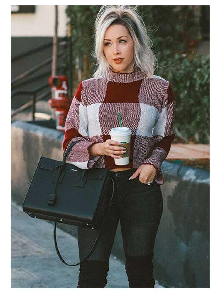 Sheinside High Neck Gingham Patchwork Crop Sweater Fall