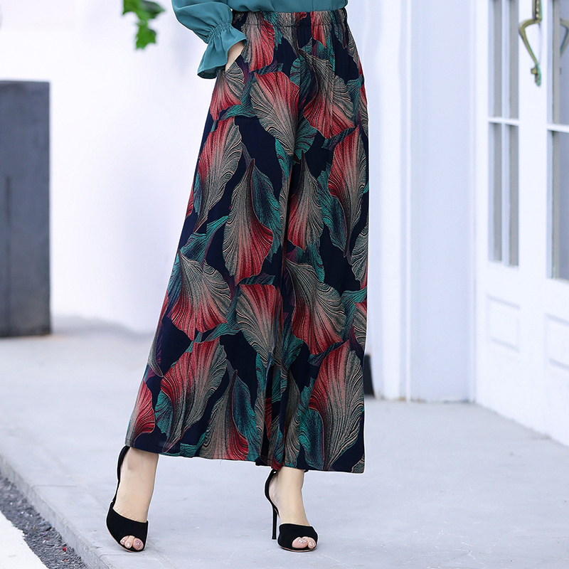 2020 Women Summer Casual Retro Print Bohemian Wide Leg Pants High Waist Wide Legs Trousers Elastic Waist Beach Holiday Pants