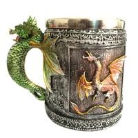 Подарок, кофейная кухонная кружка, чашка для чая, 3D Рисунок, ручная роспись, пивная, вечерние, из нержавеющей стали, кружка с драконом, Ретро с...