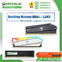 MAXSUN pamięci RAM DDR4 4GB 8GB 16GB pamięci DDR3 1600 2666 3200MHz pamięci baranów moduł Dimm DDR4 oświetlenie RGB pamięć stacjonarna z radiatorem