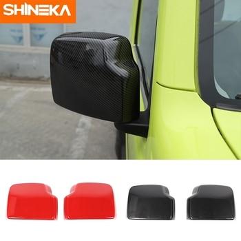 SHINEKA Car Stickers for Suzuki Jimny 2019+ ABS Carbon Fiber Rear Mirror Decal Frame Cover Trim Fit For Suzuki jimny 2019 2020