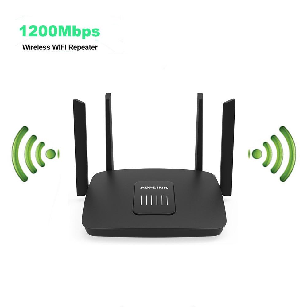 New Gigabit Wifi Router 1200Mbps Wifi Repeater Dual Band 2.4G/5G 1 WAN+3 LAN Gigabit Ports 4*6 Dbi Gain Antenna WiFi Booster