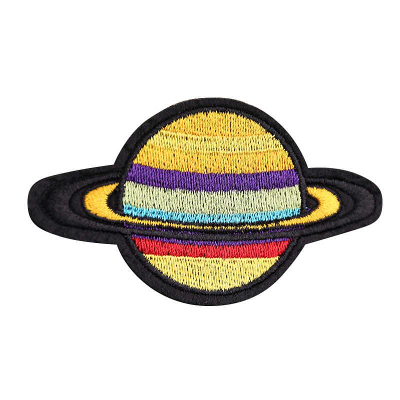 Panno di Patch Distintivo Ricamato Sveglio pianeta alieno su Del Fumetto Dei Capretti Toppe e Stemmi Per I Vestiti Adesivi cappello sacchetto di adesivi di stoffa