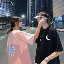 Camisetas de manga curta impresso casais reflexivos harajuku streetwear hip-hop elegante simples coreano plus size 4xl oversize casual