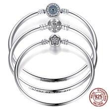 BISAER 925 Sterling Zilver Pulseira Sneeuwvlok Armbanden 925 Hart Snake Chain Sluiting femme Zilveren armband voor Vrouwen Sieraden