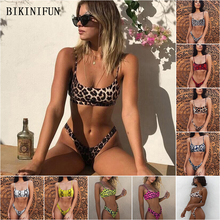 New Sexy Leopard Print Bikini Women Swimsuit  Snakeskin Bathing Suit S-XL Girl High Waist Swimwear Thong Micro Set