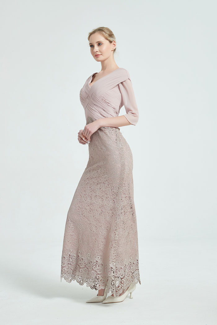 tailor shop custom made mother of the bride dress pale pinkish gray chiffion lace dress dresses mother groom