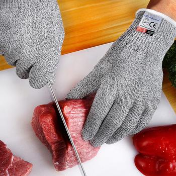 Anti-cut level 5 rękawice ochronne praca Cut Proof Stab Resistant drut ze stali nierdzewnej siatka metalowa kuchnia Butcher Cut-rękawica ochronna tanie i dobre opinie Biały przędzy CN (pochodzenie) RĘKAWICE ROBOCZE MH-F081