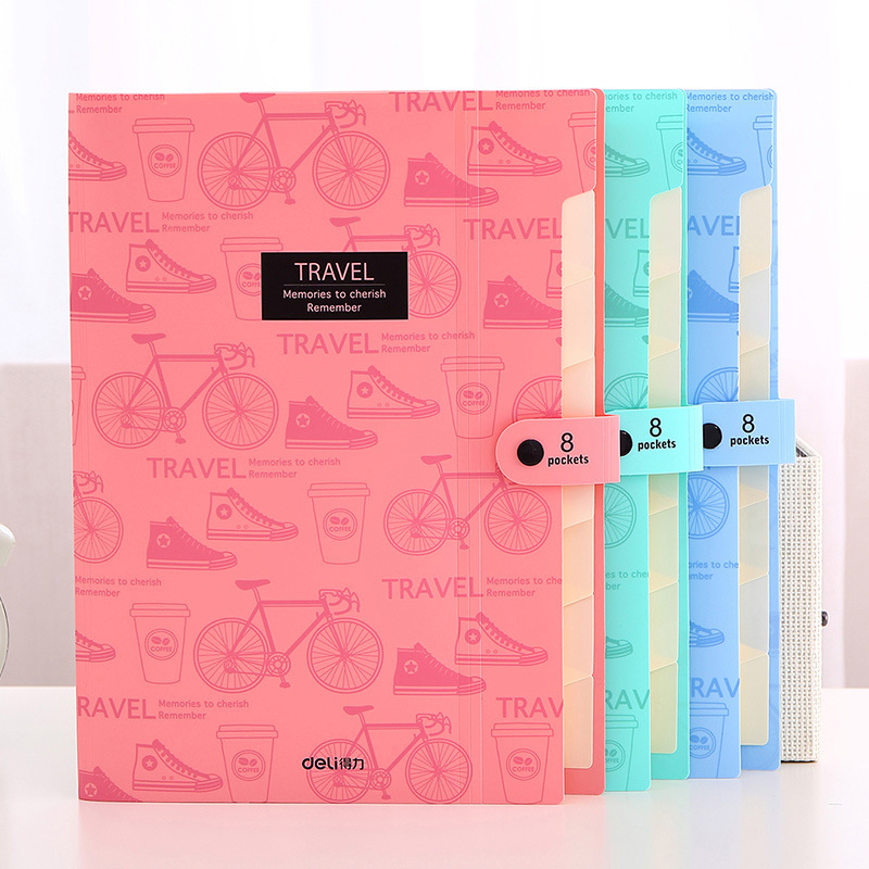 Colorful File Folder A4 Multi-layer Storage Bag File Folder With Button School & Office Supplies 8 Pockets Expanding Wallet
