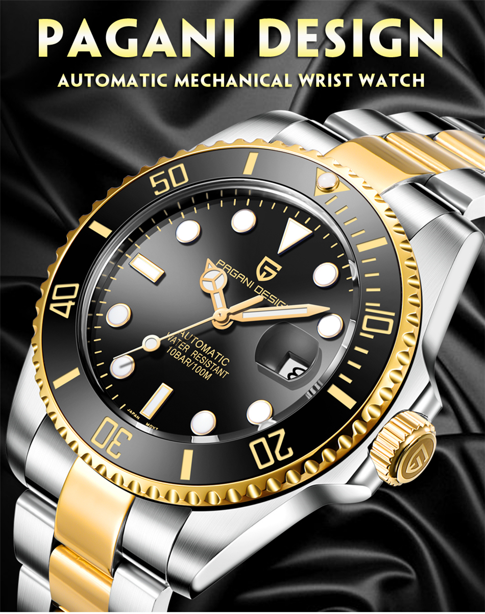 H17f8bd81c2e84ef998bab8110afe4642F PAGANI2019 Design Brand Luxury Men Watches Automatic Black Watch Men Stainless Steel Waterproof Business Sport Mechanical