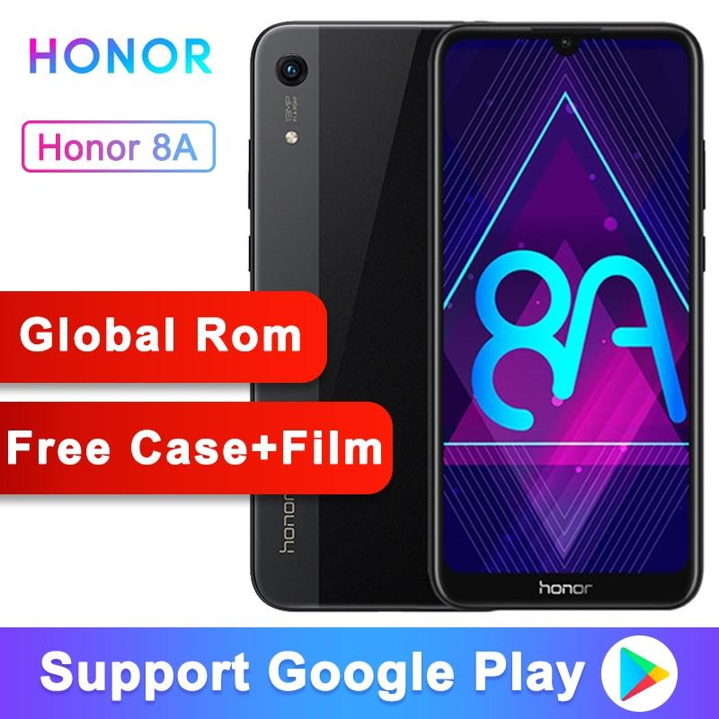 Originais Honra 8A Smartphone Android 9.0 Octa core-6.09 polegada de Tela Cheia 1560x720 Dual Camera 3020 mAh 3 Slots Celular