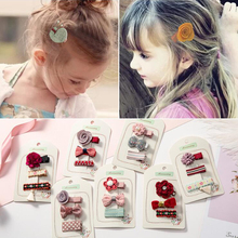 3 pcs/set Sweet Mini Bow Barrettes for Baby Kids Children Girls Solid Crown Knot Safety Hair Clips Mesh Hairpins
