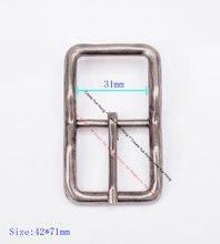 71x42mm (31mm) homem pesado forte antigo prata vintage centro barra pino fivela de cinto de couro dente cabe 30mm pulseira de couro
