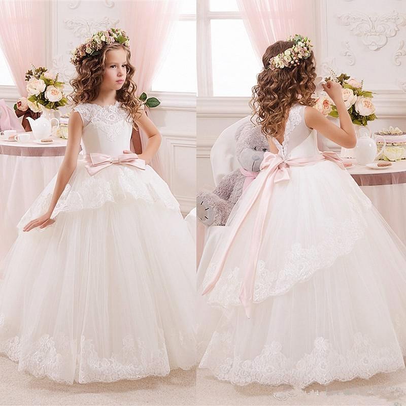 White Lace Flower Girls Dresses For Weddings Tulle Belt Bow Knot Custom First Communion Dress Princess Christmas Girls Dresses