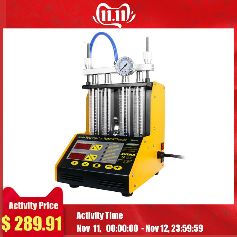 TULANAUTO CT150 Fuel Injector Cleaning Machine Testers 4 Cylinder Ultrasonic Common Rail Tester Repair Kit Cleaner