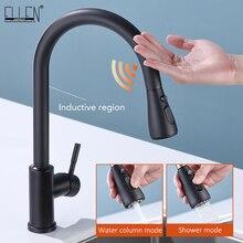 High-end-Touch Küche Armaturen Pull Out Schwarz Küche Mischbatterie Sensor Wasserhahn Swivel 360 Grad heiße und kalte wasser Wasserhähne ELK5409