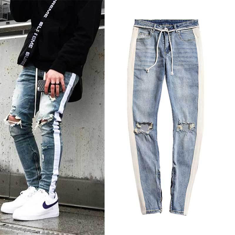 Calsa Jeans Masculina 2019 High Street Retro White Striped Knee Holes Pantalon Hombre Jean Foot Zipper Jeans Hombre Slim Fit Jeans Aliexpress