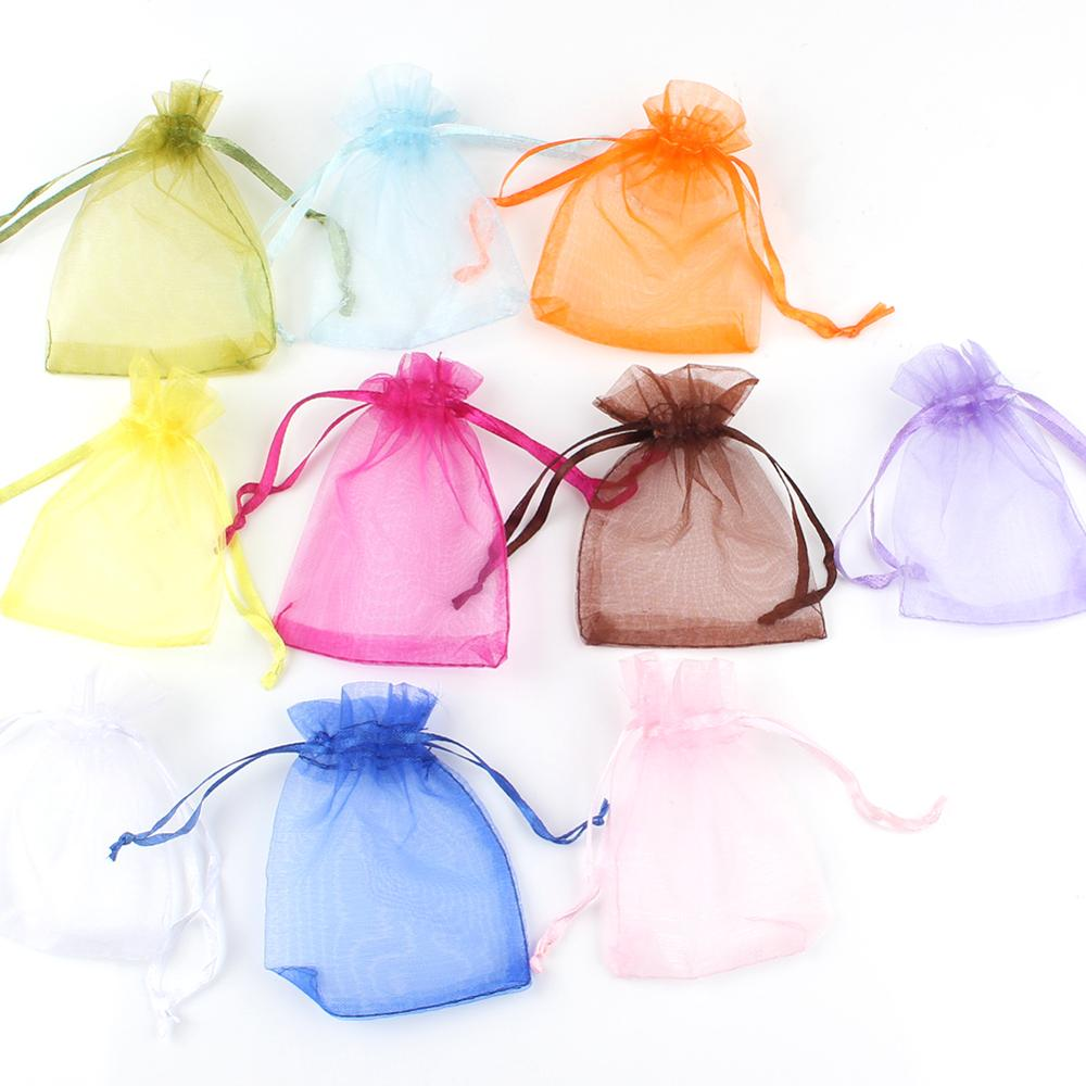 50pcs/lot 5x7cm 7x9cm 9x12cm 10x15cm Drawstring Organza Bags Jewelry Packaging Bags Candy Wedding Bags Wholesale Gifts Pouches