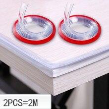 Protector de muebles de borde de mesa transparente de 2M protectores de esquina con cinta de doble cara para armarios, mesas, cajones