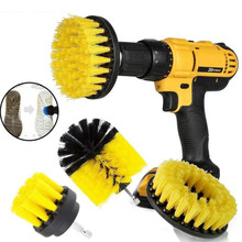 1 set / 3pcs electric drill brush kit round plastic cleaning brush for glass mat car tires polyurethane brushes drill