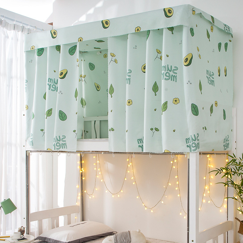 Printed Dormitory Bed Curtain with Rope & Clasp College Single Bed Shade Cloth for 4/4.5 inch Bunk Bed WWO66