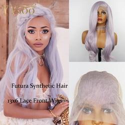 YYsoo Lange Body Wave Futura Lace Front Pruiken Voor Witte Women13x6 Paars Gemengde Wit Lijmloze Ombre Synthetische Pruik Mixed Hoogtepunten