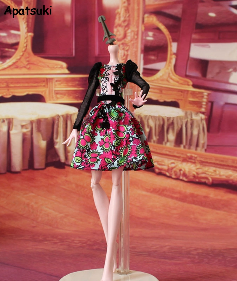High Quality Black Lace Floral Dress For Monster High Doll Clothes For Ever After High Doll Outfits 1/6 Doll Accessories Kid Toy