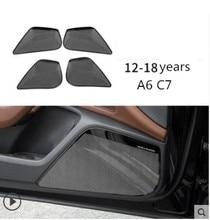 12 18Car التصميم ستيريو المتحدثون الديكور إطار 4 قطعة لأودي A6 C7 الداخلية الباب الصوت المتكلم غطاء تقليم اكسسوارات السيارات