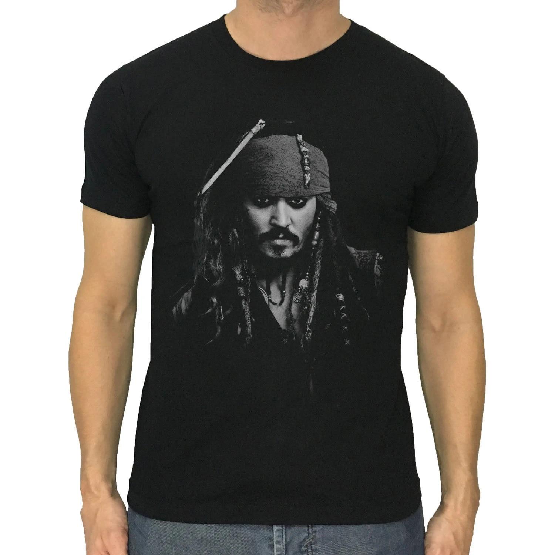 Pirates of the Caribbean Jack Sparrow T-Shirt Black Johnny Depp