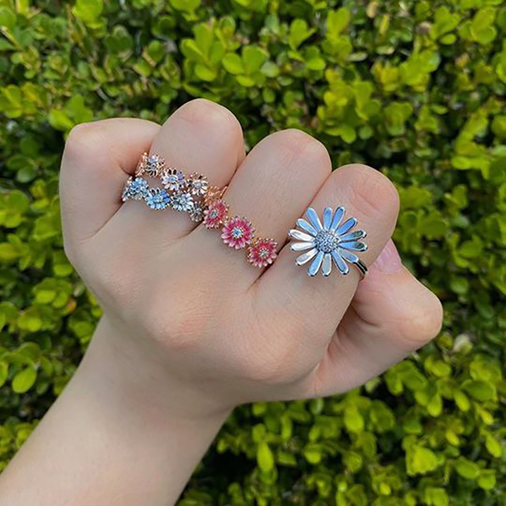 Volayer 925 Sterling Silver Rings Daisy Flower Snake Chain Pattern Crown Open Band of Hearts Rings Original 925 Women Rings Gift 6