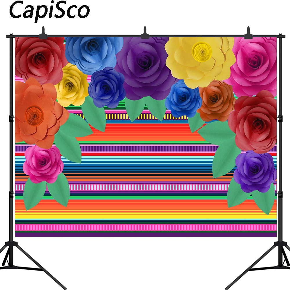 7x5ft Mexico Fiesta Photography Backdrop Colorful Flowers Mexican Festival Cactus Banner Decoration Event Table Decor Banner Background W-1959