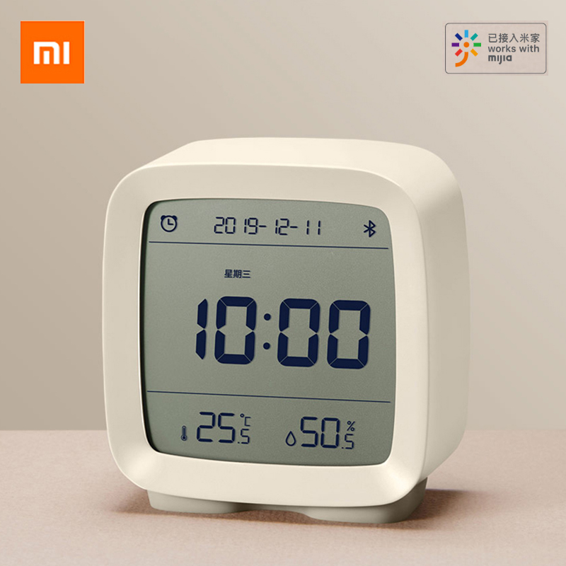 Xiaomi Qingping Bluetooth Alarm Clock Smart Bluetooth Temperature Humidity Sensor LCD Night Light Mijia App control Thermometer image