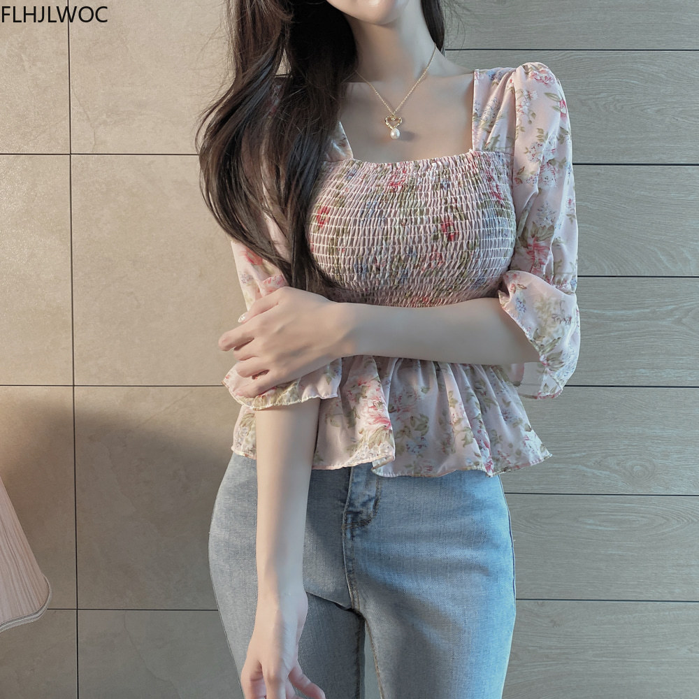 Summer Cute Short Chic Tops Hot Sales Women Korean Japanese Flhjlwoc Style  Design Pink Floral Ruffled Vintage Peplum Top Blouse