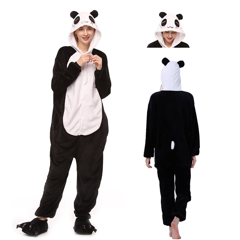 2019 Unicorn Pajamas Women Animal Pajama Kigurumi Stitch Adult Cartoon Sleepwear Unisex Winter Warm Flannel  Hooded Homewear