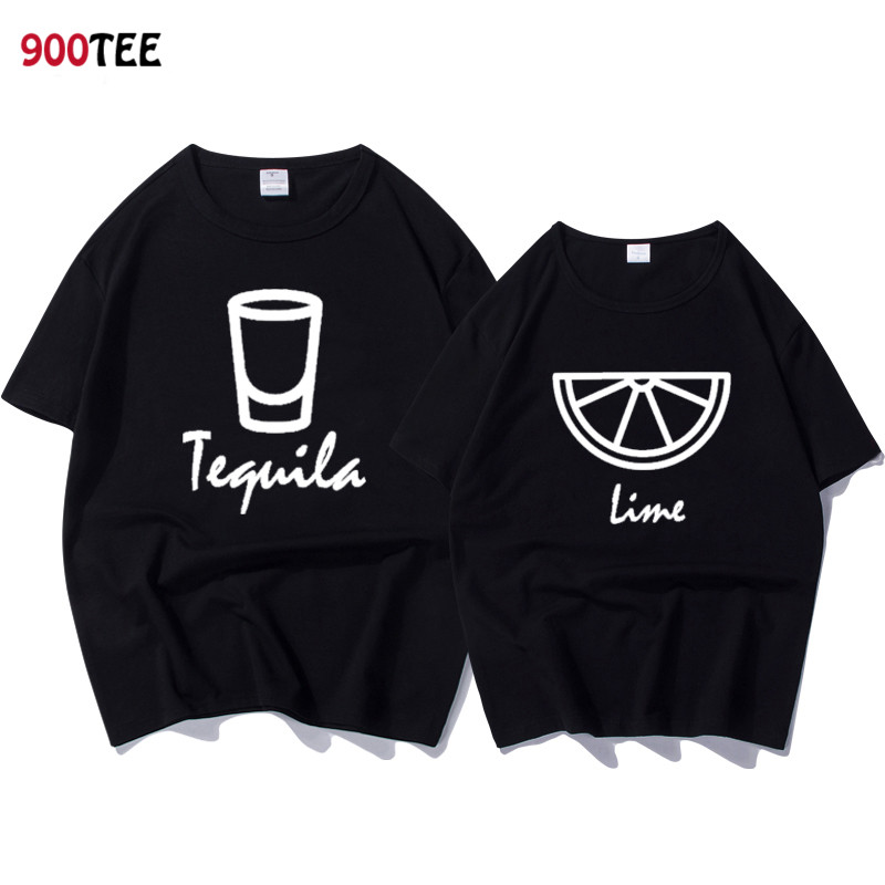Fashion Brand Couple T-shirt Women Letter Print Tequila Lime Funny T Shirt Loose Summer Tops Casual Tshirt Couple Clothes Cotton