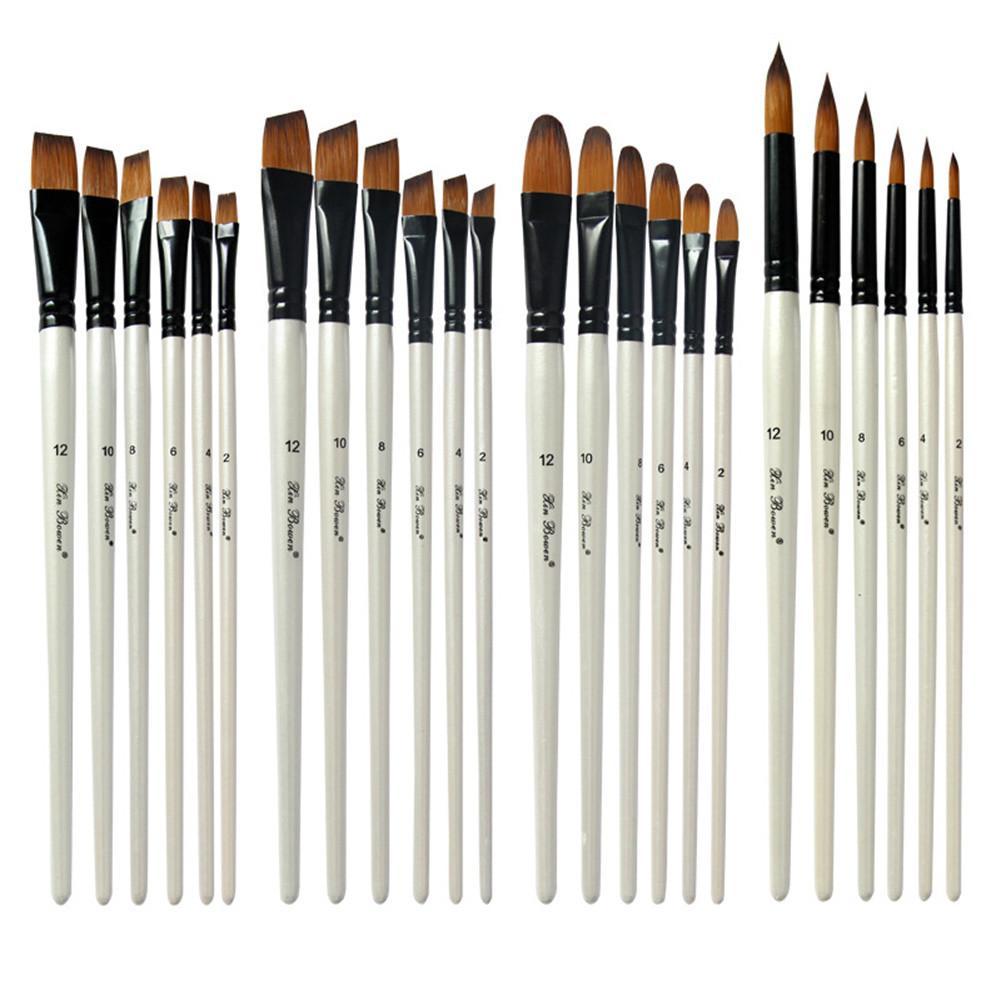 6PCS Pearl White Wooden Pole Bicolor Nylon Hair Watercolour  Brush Set
