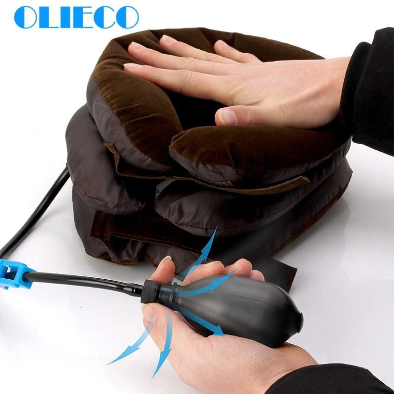 OLIECO 3 Layer Inflatable Neck Back Traction Collar Shoulder Pain Relief Soft Air Cervical Stretch Pillow Brace Universal Size