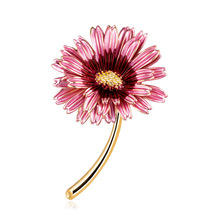 Creative Korean cute flower brooch environmental alloy drip sunflower cross-border hot