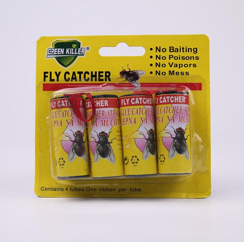 4 Gulungan Lengket Kertas Terbang Menghilangkan Lalat Serangga Bug Rumah Lem Kertas Penangkap Perangkap Serangga Terbang Nyamuk Pembunuh Buzz Terbang perangkap Perangkat