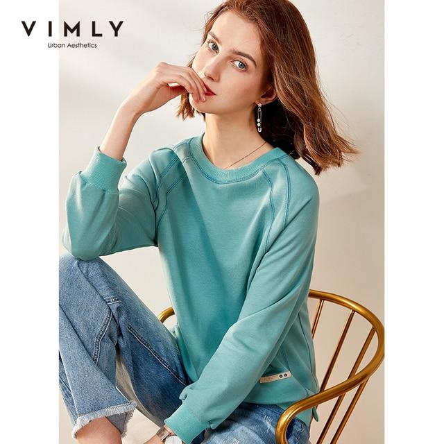 Vimly Hoodies Women Vintage O neck Loose Solid Harajuku Autumn Pullover Female Sweatshirt Sudaderas F0665 1