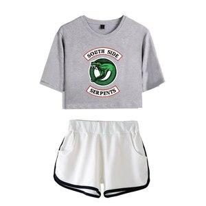 Image 5 - แฟชั่นอเมริกันทีวี Riverdale ผู้หญิงเซ็กซี่ฤดูร้อน T เสื้อผู้หญิงชุดใหม่กางเกงขาสั้น Crop แฟชั่นกางเกงขาสั้นยอดนิยม 2 ชิ้นชุด