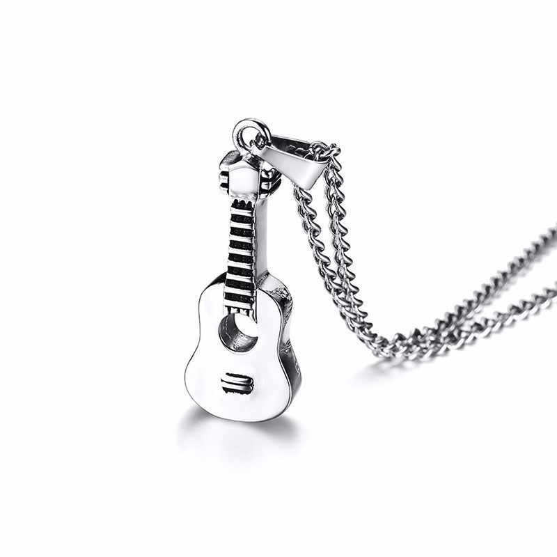 Silver Tone Acoustic Guitar Pendant Necklace for Men Stainless Steel Ashes Memorial Unisex Jewelry 24 inch