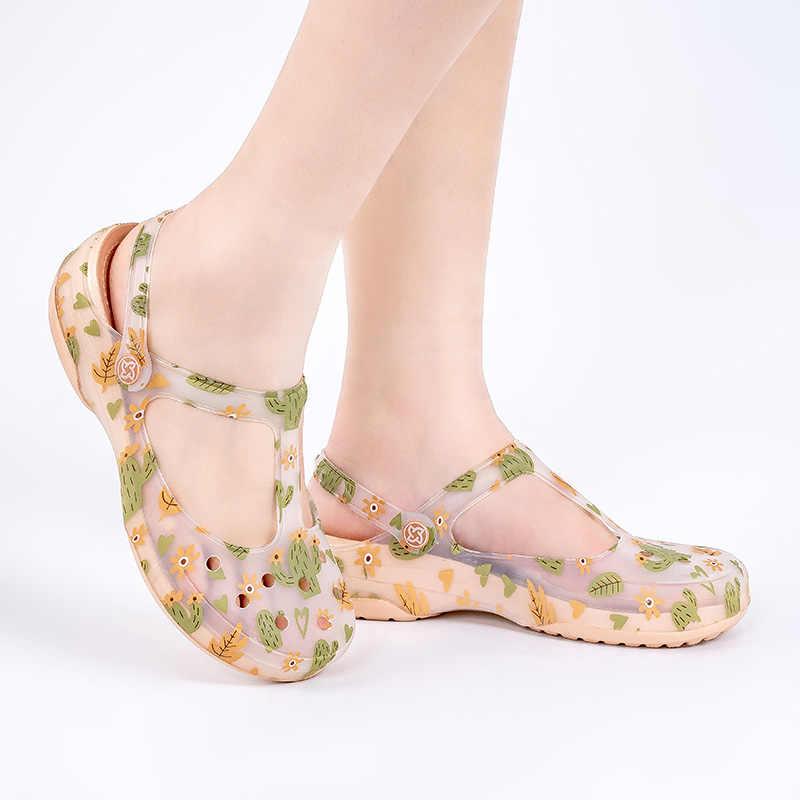 Сандалии-желе женские на платформе, роскошные босоножки в римском стиле на танкетке, прозрачная обувь в Стиле Лолита, санитарные сабо, лето, otali.ru