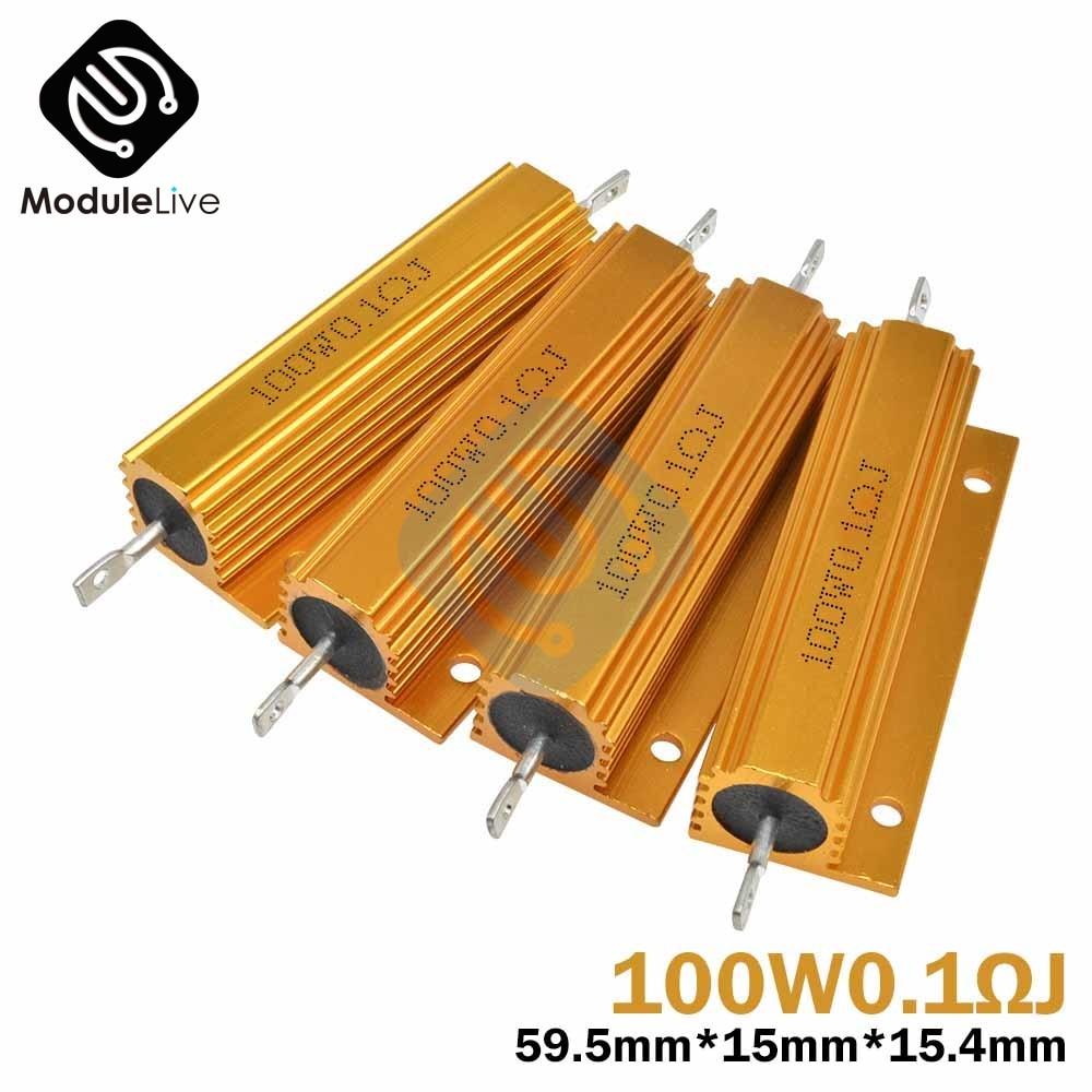 1pc 100W Shell Power Metal Shell Case Aluminum Wirewound Resistor  0.1R 0.5R 1R 1.5R 2R 3R 6R 8R 20R 30R 100R 1K Ohm 5% Accuracy