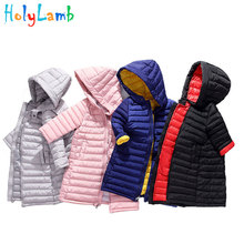 2019 Plus Size Winter Warm Down Jacket Hood Park For Girls Boys Long Baby Toddler Girl Clothes Childrens Black 3-15Y